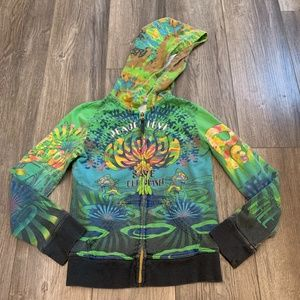 4/$25 Girls Hippie Zip Up Hoodie M 10/12